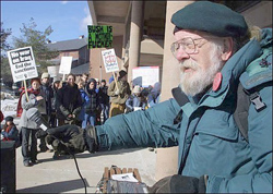 Will Miller at UVM anti-war protest